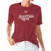 Ladies Under Armour Heather Cardinal Triblend Tee-Scottish Rite