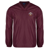 V Neck Maroon Raglan Windshirt-Freemasons