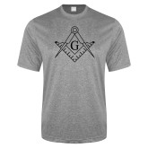 Performance Grey Heather Contender Tee-Square and Compass with G