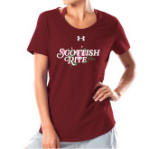 Ladies Under Armour Cardinal Charged Cotton Tee-Scottish Rite Pink Floral