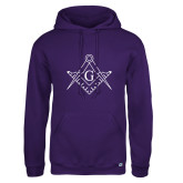 Russell DriPower Purple Fleece Hoodie-Square and Compass with G