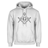 White Fleece Hoodie-Square and Compass with G