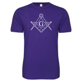 Next Level SoftStyle Purple T Shirt-Square and Compass with G