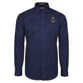 Navy Twill Button Down Long Sleeve-32 Eagle Freemasons