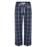 Navy/White Flannel Pajama Pant-Square and Compass with G