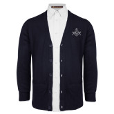 Navy V Neck Cardigan w/Pockets-Square and Compass with G