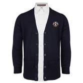 Navy V Neck Cardigan w/Pockets-Freemasons
