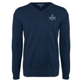 Classic Mens V Neck Navy Sweater-Square and Compass with G