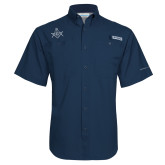Columbia Tamiami Performance Navy Short Sleeve Shirt-Square and Compass with G