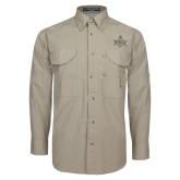 Khaki Long Sleeve Performance Fishing Shirt-Square and Compass with G