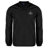 V Neck Black Raglan Windshirt-Square and Compass with G