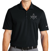 Nike Golf Dri Fit Black Micro Pique Polo-Square and Compass with G