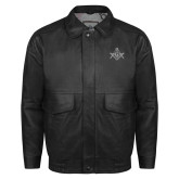 Black Leather Bomber Jacket-Square and Compass with G