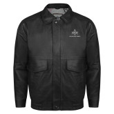 Black Leather Bomber Jacket-Not Just A Man A Mason