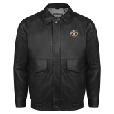 Black Leather Bomber Jacket-Freemasons