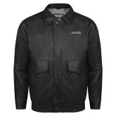 Black Leather Bomber Jacket-Scottish Rite Wordmark