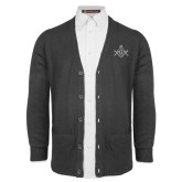 Charcoal V Neck Cardigan w/Pockets-Square and Compass with G