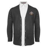 Charcoal V Neck Cardigan w/Pockets-Freemasons