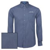 Mens Deep Blue Crosshatch Poplin Long Sleeve Shirt-Scottish Rite Wordmark