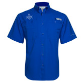 Columbia Tamiami Performance Royal Short Sleeve Shirt-Square and Compass with G