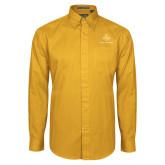 Gold Twill Button Down Long Sleeve-Not Just A Man A Mason
