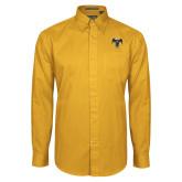 Gold Twill Button Down Long Sleeve-32 Eagle Freemasons