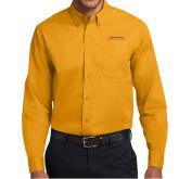 Gold Twill Button Down Long Sleeve-Scottish Rite Wordmark