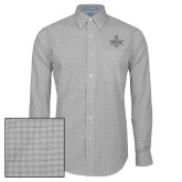 Mens Charcoal Plaid Pattern Long Sleeve Shirt-Square and Compass with G