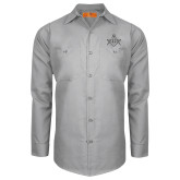 Red Kap Light Grey Long Sleeve Industrial Work Shirt-Square and Compass with G