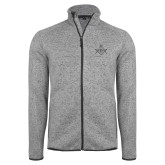 Grey Heather Fleece Jacket-Square and Compass with G