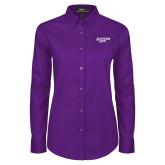 Ladies Purple Twill Button Down Long Sleeve-Scottish Rite
