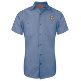 Red Kap Postman Blue Short Sleeve Industrial Work Shirt-Freemasons