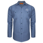 Red Kap Postman Blue Long Sleeve Industrial Work Shirt-Square and Compass with G