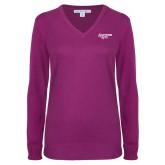 Ladies Deep Berry V Neck Sweater-Scottish Rite