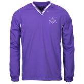 Colorblock V Neck Purple/White Raglan Windshirt-Square and Compass with G