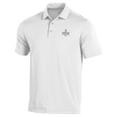 Under Armour White Performance Polo-Square and Compass with G