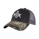 Mossy Oak Grey Mesh Back Structured Hat-Square and Compass with G