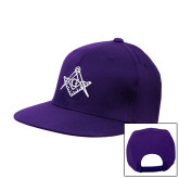 Purple Twill Flat Bill Snapback Hat-Square and Compass with G