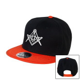 Black/Orange Twill Flat Bill Snapback Hat-Square and Compass with G