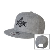 Heather Grey Wool Blend Flat Bill Snapback Hat-Square and Compass with G