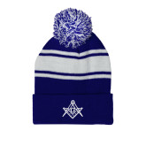 Royal/White Two Tone Knit Pom Beanie w/Cuff-Square and Compass with G