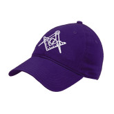 Purple Twill Unstructured Low Profile Hat-Square and Compass with G