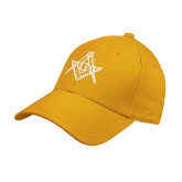 Gold Heavyweight Twill Pro Style Hat-Square and Compass with G