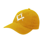Gold Flexfit Mid Profile Hat-Square and Compass