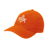 Orange Flexfit Mid Profile Hat-Square and Compass with G