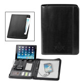 Fabrizio Black Zip Padfolio w/Power Bank-Square and Compass with G Engraved