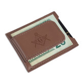 Cutter & Buck Chestnut Money Clip Card Case-Square and Compass with G Engraved