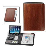 Fabrizio Brown Zip Padfolio w/Power Bank-Square and Compass with G Engraved