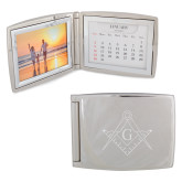 Silver Bifold Frame w/Calendar-Square and Compass with G Engraved