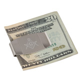 Dual Texture Stainless Steel Money Clip-Square and Compass with G Engraved